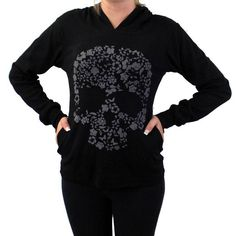 Black Hoodie with Gray Floral Skull Shirt Long Sleeve Jacket Fair Trade #YakYeti #KnitTop #Casual