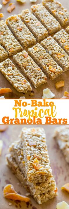 Don't get me wrong, I love peanut butter and chocolate in my homemade granola bars but I wanted a change. Something bright and fresh which is when the idea for tropical granola bars hit me.  The grano