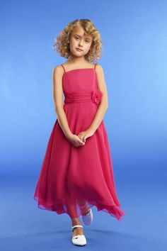 Chiffon A-line Spaghetti Straps Ankle Length Junior Bridesmaid Dress With Sash & Flower Princess Flower Girl Dresses, Little Girl Dresses, Flower Dresses, Girls Dresses, Formal Dresses, Flower Girls, Cheap Wedding Dress, Wedding Party Dresses, Cheap Dress