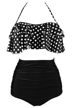 Black White Polka Dot Retro Halter Boho Flounce High Waist Swimsuit