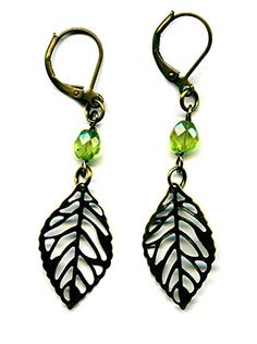 Brass Leaf Earrings with Faceted Light Green Peridot Gemstones Antiqued Bronze August Birthstone Handmade Moon Pixie