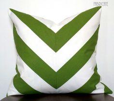 Wide Stripe Chevron Green-Pillow