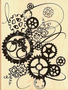 SteamPunk Gears Clock Works Large Wood Mounted Rubber Stamp by Stampendous NEW