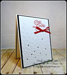 Stampin' Up!, PP327, Sealed With Love, Falling Petals TIEF, Sending Love Ribbon combo in Real Red, Rhinestones -  designed by Wendy Klein for Doggone Delightful Stampin'
