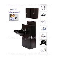 Black Salon Styling Cabinet Shampoo Station