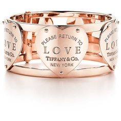 Return to Tiffany Love Wide Hinged Cuff ($1,900) ❤ liked on Polyvore featuring jewelry, bracelets, tiffany co jewelry, rose gold bangle, red gold jewelry, rose gold jewelry and tiffany co jewellery
