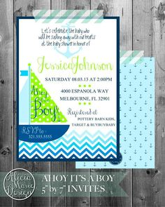 Nautical baby shower invites  www.aliciamariedesign.com