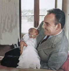 graceandfamily:  Prince Rainier with his baby daughter, Princess Caroline. Picture taken by Howell Conant in March 1957.