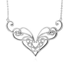 Sterling Silver Celtic Double Heart Knot Necklace