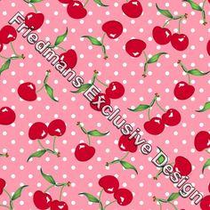RUB113 Red Cherry on Pink/White Spot | Printed Lycra Fabric | Printed Fabric | Stretch Fabric | Funki Fabrics | Swimwear Fabric | Cherry Print
