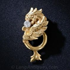 French Art Nouveau 18k and Diamond Griffin Scarf Clip