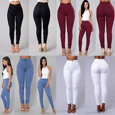 cbc61aff765 Womens Pencil Stretch Casual Denim Skinny Jeans Pants High Waist Trousers  Witty