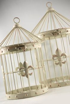 "Set of 2 White Metal Fleur de Lis  16"" & 13"" )  Birdcages   $24  set"