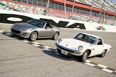 1967 Mazda Cosmo Sport 110S Versus Modern Day Miata at Daytona.