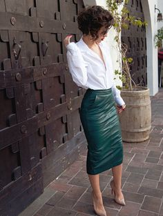 Leather pencil skirt + white shirt
