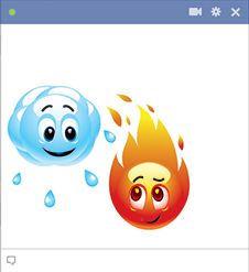 Water and fire emoticons