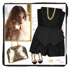 """""""peplum romper"""" by bodangela ❤ liked on Polyvore featuring Loeffler Randall, Louis Vuitton, Jules Smith, Charlotte Russe and CC SKYE"""