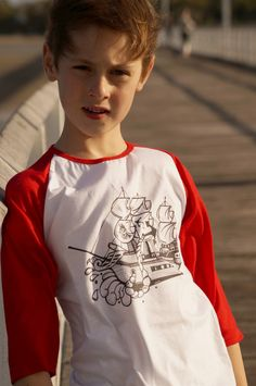 boy's cotton t-shirt original illustration pirate ship red. Shop boy's coastal styles > Online or visit us in Noosa! Coastal Style, Kids Outfits, Ship, Boys, Long Sleeve, Cotton, Mens Tops, T Shirt