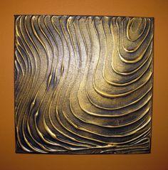 Original peinture moderne mur Art abstrait contemporain or noir texturé empâtement 10 X 10 x 1-3/8