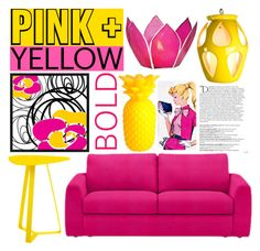 """Pink + Yellow Bold"" by douglas-universe ❤ liked on Polyvore featuring interior, interiors, interior design, home, home decor, interior decorating, Pacific Coast, Balmain, Cultural Intrigue and Sunnylife"