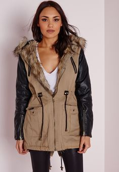 Missguided - PU Sleeve Parka Natural Fur Hood Camel