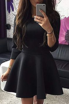 Pure Color 3/4 Sleeves Flare Dress