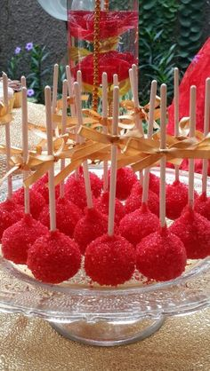 Cake Pops for Glamorous Red and Gold Dessert Table