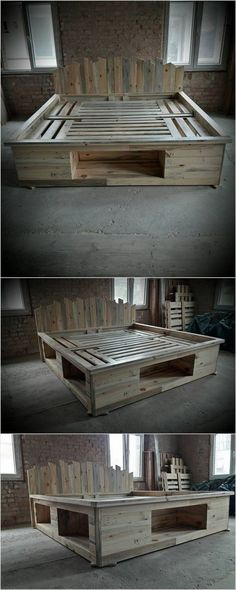 Wood Pallet Bed Frame with Storage #Bedding