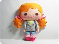 Bella girl - doll pattern, felt doll, PDF