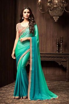 image of Charming Cyan Color Chiffon And Silk Fabric Beautiful Saree With Party Wear Blouse