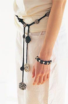Suffolk puff belt and bracelet