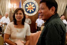 VP Leni Robredo and President Rodrigo Duterte shares warm laughs as they take their first cabinet meeting together. Rodrigo Duterte, Everyone Knows, Presidents, Believe, Warm, Cabinet, Couple Photos, Clothes Stand, Couple Shots