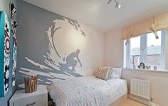 Taylor Wimpey - The Lavenham at Marston Grange, Beaconside, Stafford Another brilliant teenage boys bedroom with a surfing theme. #surferbedroom