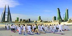 Early morning is a good time for some desert Yoga in Bahrain. #YogaDay   Source :  Ministry of External Affairs, India For Updates on International Day of Yoga visit:http://bit.ly/1Ge0NPx