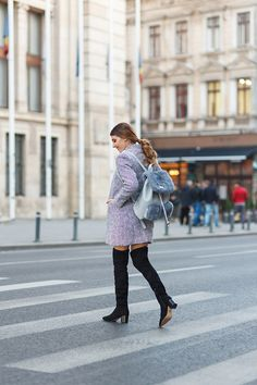 A bit preppy with black skirt,over the knee boots, grey coat and backpack today on my blog: http://larisacostea.com/2016/11/black-white-and-grey/