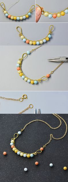 Wanna this beaded chain necklace?The tutorial will be published by LC.Pandahall.com soon.