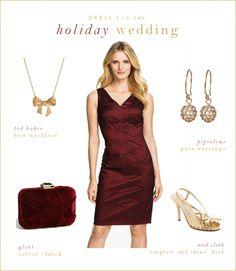 Burgundy Holiday Wedding Guest or Bridesmaids' Dress www.dressforthewedding.com