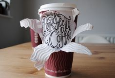 hand type lettering graphic illustration design cardboard paper coffee cup
