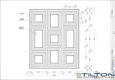 Coffered Ceiling Design Drawing - Square Grid Staggered 02