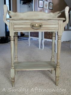 Antique Wash Stand Make-over!  - Using Milk paint & glaze
