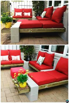"Backyard Patio Furniture ""DIY Outdoor Cinder Block DIY Concrete Block Furniture Projects - New Sensations Garden"", ""Pallets or wood beams, cinderblocks Cinder Block Furniture, Cinder Block Bench, Cinder Block Garden, Pallet Furniture, Garden Furniture, Outdoor Furniture Sets, Furniture Projects, Cinder Block Ideas, Diy Patio Furniture Cheap"