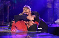 Ellen gazes lovingly into Coldplay lead singer Chris Martin's eyes.