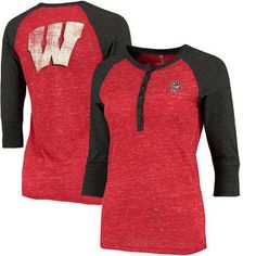 Wisconsin Badgers Colosseum Women's Split 3/4-Sleeve Raglan Henley T-Shirt - Red