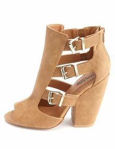 Peep Toe Belted Chunky Heels: Charlotte Russe