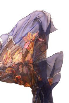 """Imagen de la bufanda """"Tulipán"""" pintado a mano de seda por Asta Masiulyte"""