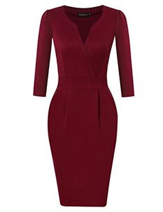 314b252d7dd9 HiQueen Women Vintage V-neck Office Work Business Party Bodycon Pencil  Dress Work Dresses With
