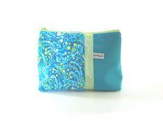 trousse maquillage turquoise tissu imprimé vagues pochette zippée bleu turquoise : Trousses par tchai-walla