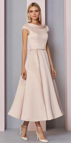 dddc93ec9ecb Fascinating Satin Portrait Neckline Tea-Length A-line Mother Of The Bride  Dress With