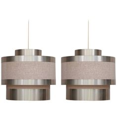 Pair of XL 1960s Italian Pendant Shade Lamps in Brass and Fabric
