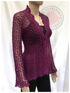 Floral Lace Cardigan  Crochet PDF Pattern  Sizes S M L